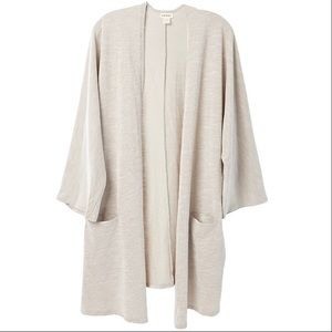 Donni Women's Sandwash Ribbed Duster Gray White,OS